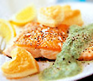 Salmon fillets with puff pastry hearts
