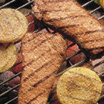 Honey Mustard-Glazed Steaks with Grilled Onions