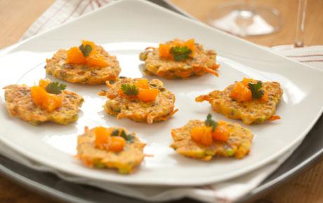 Two-Bite Shrimp Pancakes with Satsuma Relish