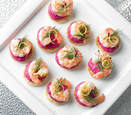 Prawn Blinis with Beetroot and Horseradish