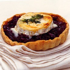 Caramelised Balsamic and Red Onion Tarts with Goats' Cheese