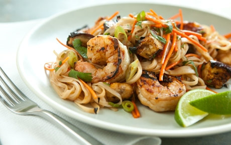 Grilled Shrimp and Eggplant Summer Noodle Bowls