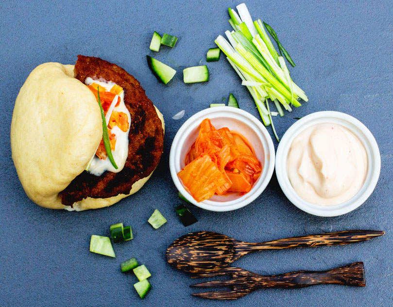 Donald Russell Spiced Lamb Burgers with Chinese Steamed Buns