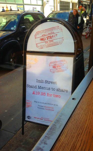Asian restaurant Imli Street board