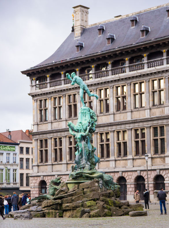 Antwerp market square statue