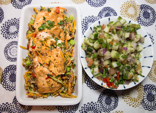 1070 Chrayme Salmon Box and Israeli Salad for dinner – review