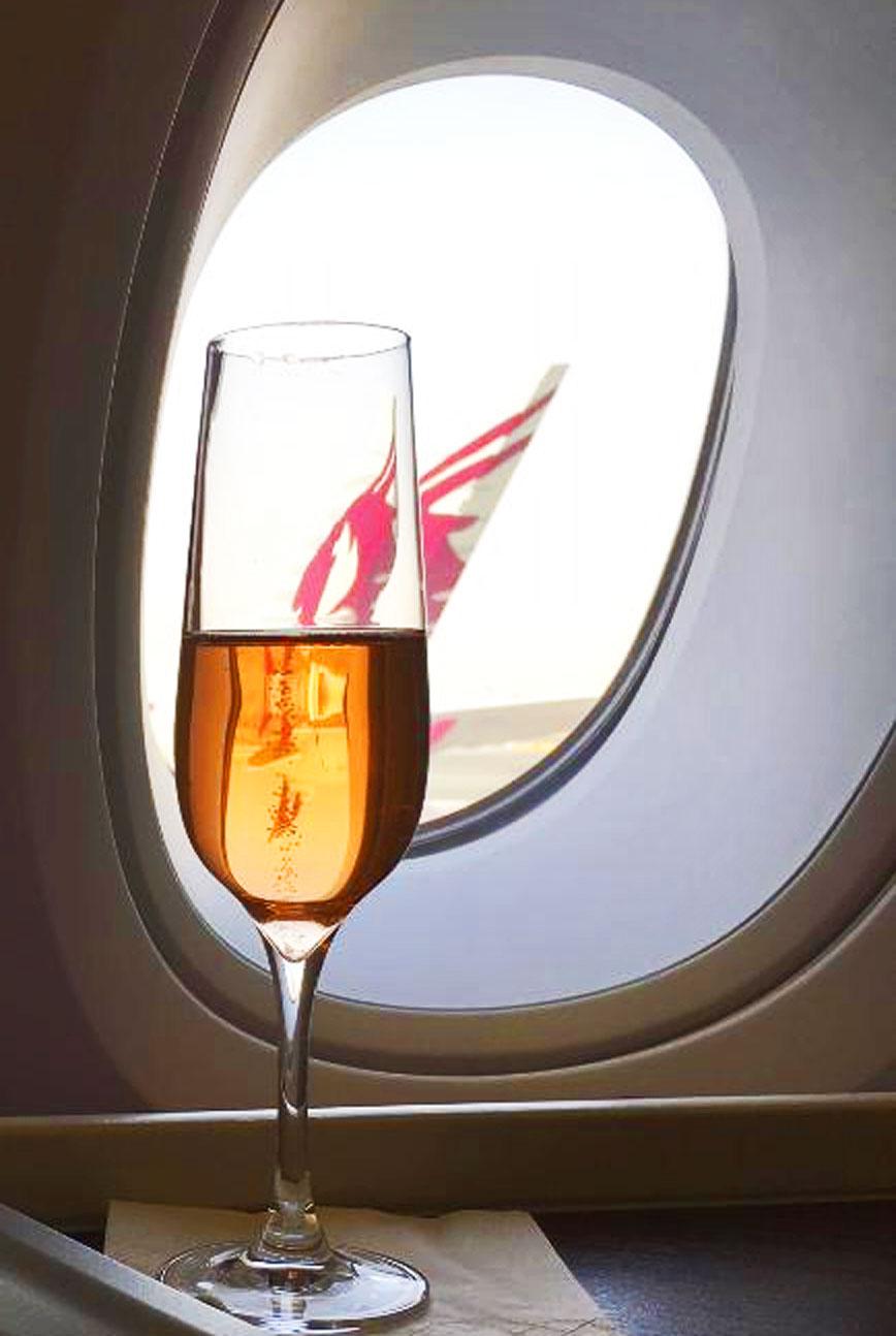 Qatar Airways champagne