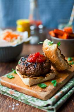 Irish Peppercorn Studded Burger, Tricolour Slaw & Sweet Potato Wedges